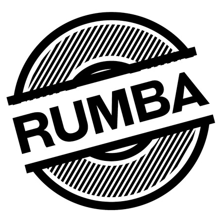 rumba black stamp on white background , sign, label