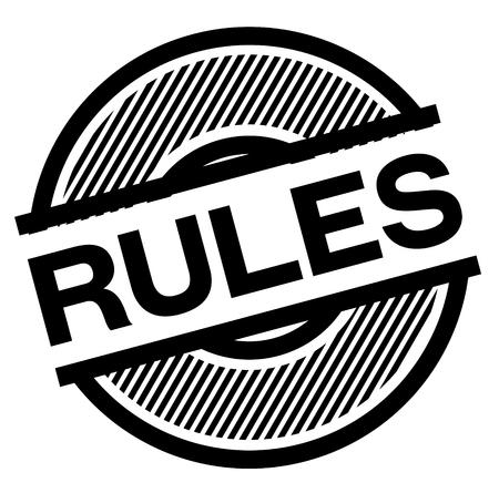 rules black stamp on white background , sign, label Illustration