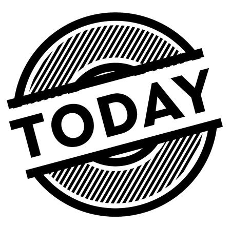 aujourd'hui, timbre noir sur fond blanc, signe, étiquette