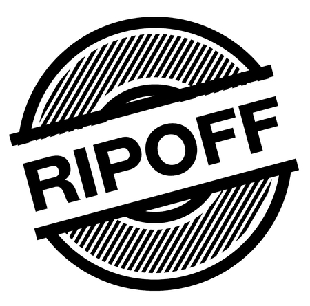 ripoff black stamp on white background , sign, label