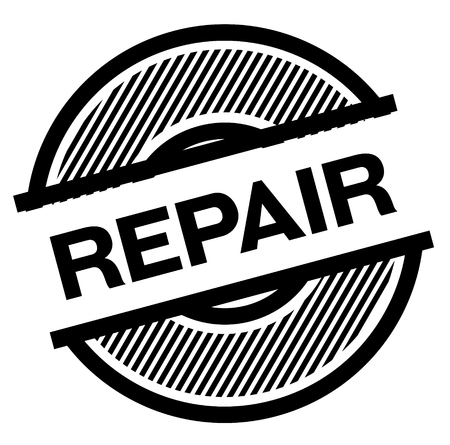 repair black stamp on white background , sign, label 向量圖像