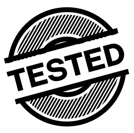 tested black stamp on white background , sign, label