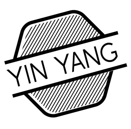 ying yang black stamp in french language , sign, label