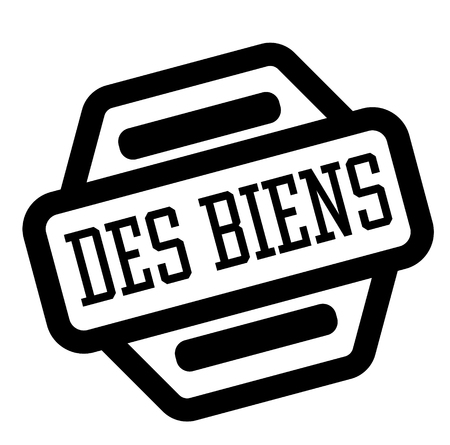 goods black stamp in french language , sign, label Illustration
