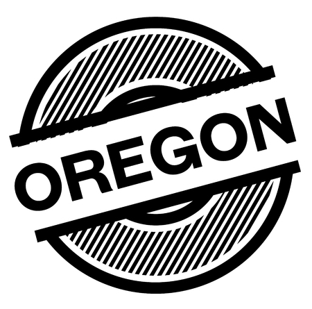 oregon black stamp on white background , sign, label  イラスト・ベクター素材