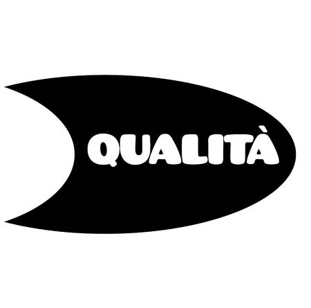 quality black stamp in italian language. Sign, label, sticker Illustration
