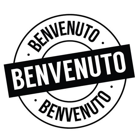 welcome black stamp in italian language. Sign, label, sticker