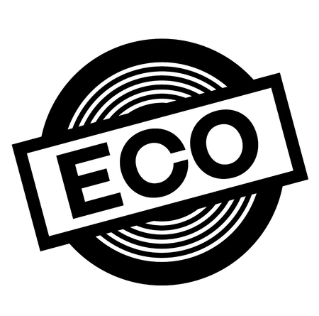 eco black stamp on white background, sign, label