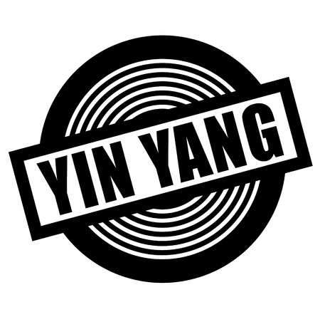ying yang black stamp on white background Foto de archivo - 111845965