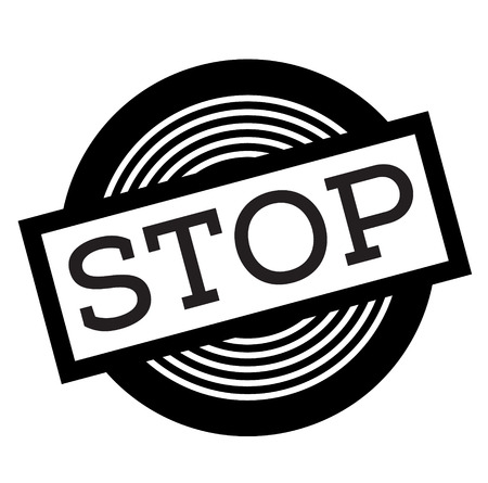 stop black stamp on white background, sign, label