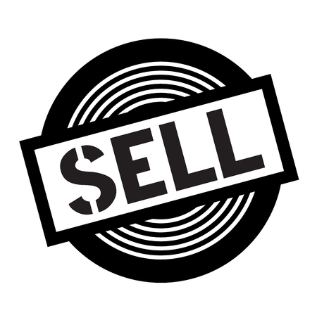 sell black stamp on white background, sign, label  イラスト・ベクター素材