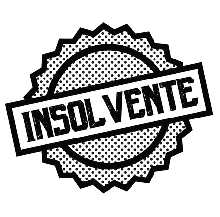 insolvent black stamp in italian language. Sign, label, sticker Çizim