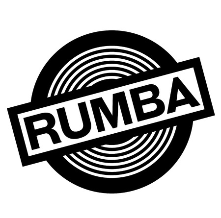 rumba black stamp on white background, sign, label