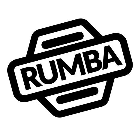 rumba black stamp in italian language. Sign, label, sticker