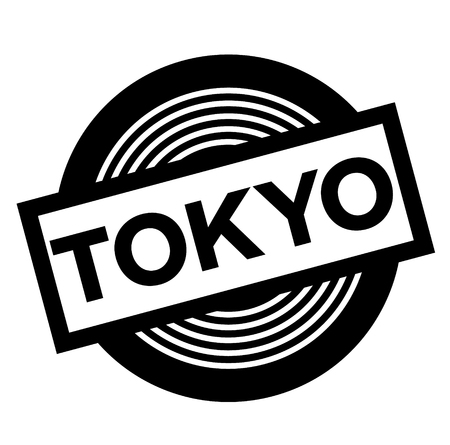 tokyo black stamp on white background, sign, label