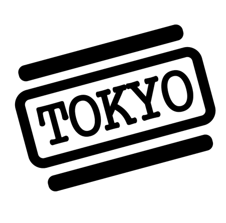 tokyo black stamp in italian language. Sign, label, sticker