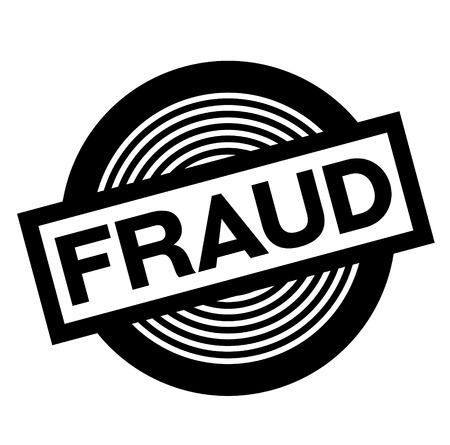 fraud black stamp on white background, sign, label
