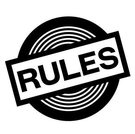 rules black stamp on white background, sign, label Çizim