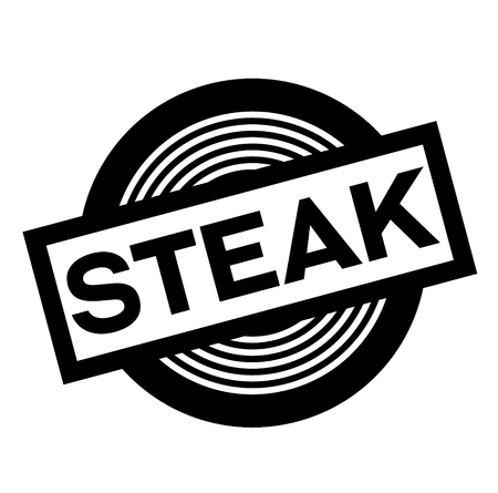steak black stamp on white background, sign, label  イラスト・ベクター素材
