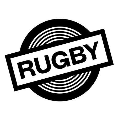 rugby black stamp on white background, sign, label