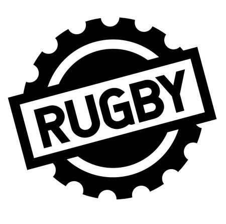 rugby black stamp in italian language. Sign, label, sticker
