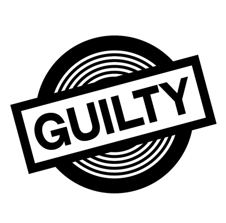 guilty black stamp on white background, sign, label