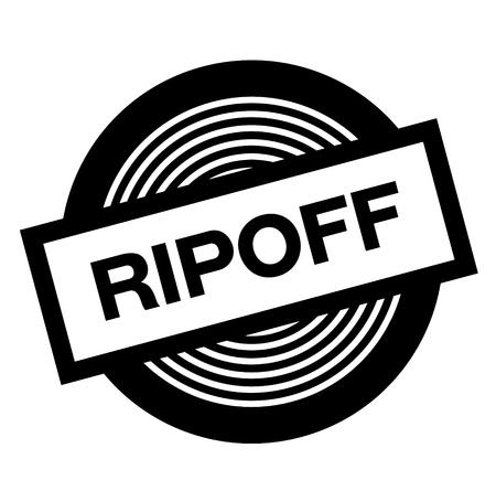 ripoff black stamp on white background, sign, label