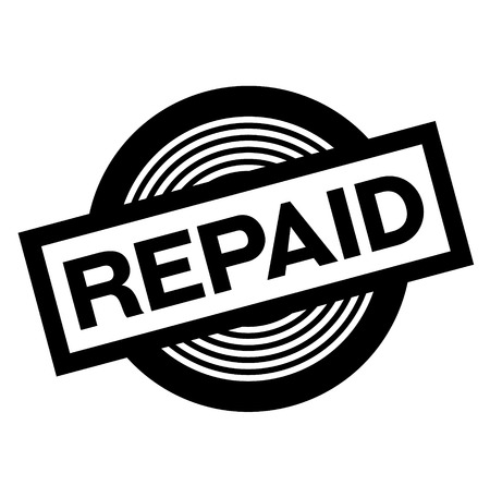 repaid black stamp on white background, sign, label