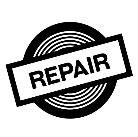 repair black stamp on white background, sign, label Illusztráció