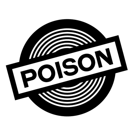 poison black stamp on white background, sign, label