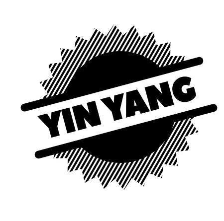 ying yang black stamp in italian language. Sign, label, sticker