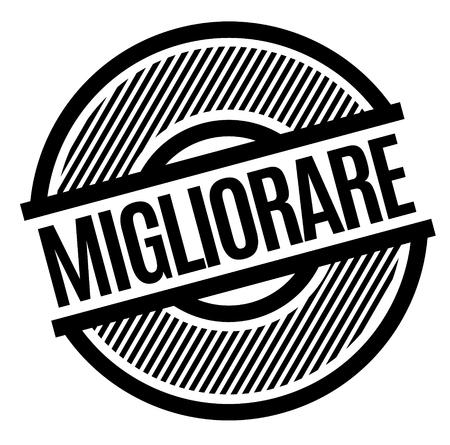 improve black stamp in italian language. Sign, label, sticker Ilustração