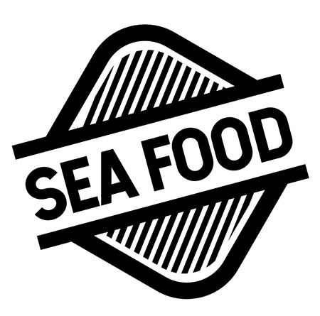 sea food stamp on white background . Sign, label, sticker