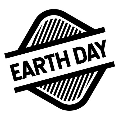earth day stamp on white background . Sign, label, sticker Illustration