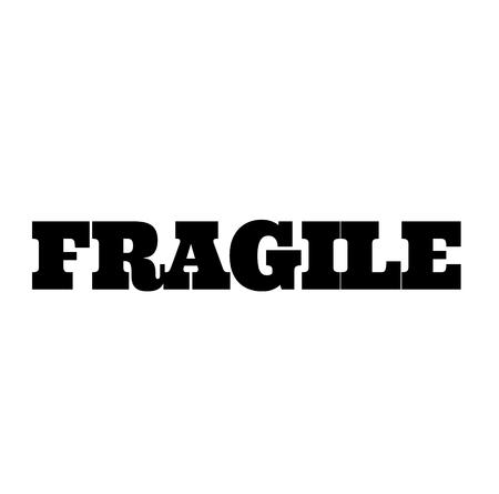 zerbrechlicher schwarzer Stempel in französischer Sprache. Schild, Etikett, Aufkleber