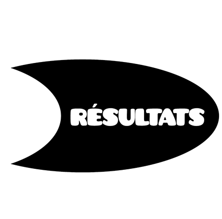 results black stamp in french language. Sign, label, sticker