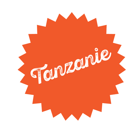 tanzania black stamp in french language. Sign, label, sticker Illustration