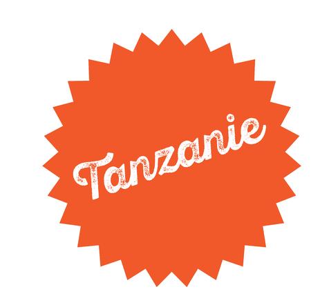 tanzania black stamp in french language. Sign, label, sticker Ilustração