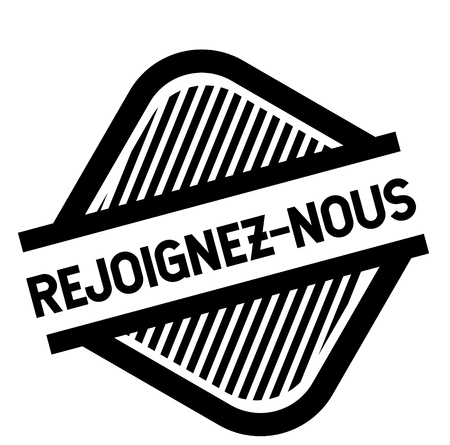 join us black stamp in french language. Sign, label, sticker