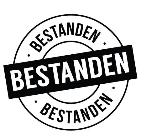 passed black stamp in german language. Sign, label, sticker