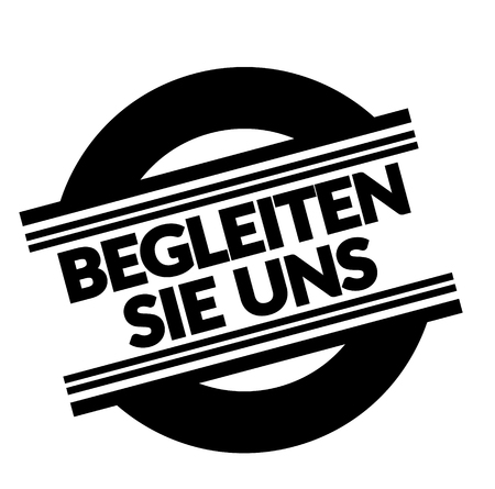 join us black stamp in german language. Sign, label, sticker
