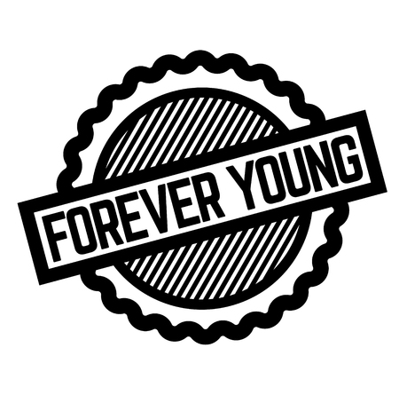 forever young black stamp on white background. Sign, label, sticker