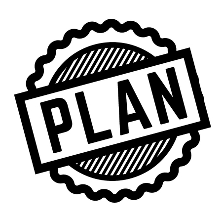 plan black stamp on white background. Sign, label, sticker Vectores
