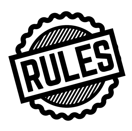 rules black stamp on white background. Sign, label, sticker