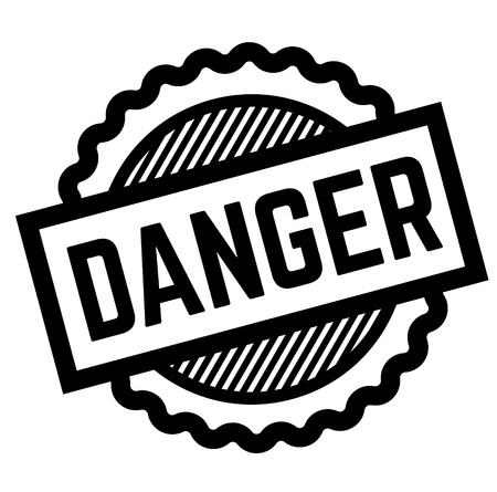 peligro sello negro sobre fondo blanco. Signo, etiqueta, pegatina