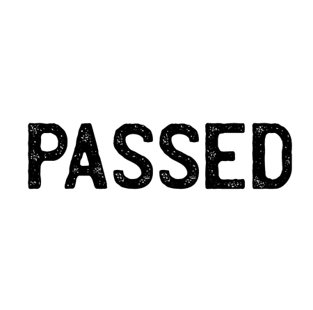 passed stamp on white background . Sign, label sticker