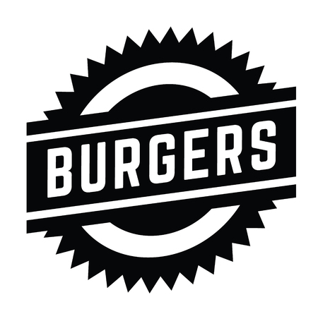 burgers stamp on white background . Sign, label sticker