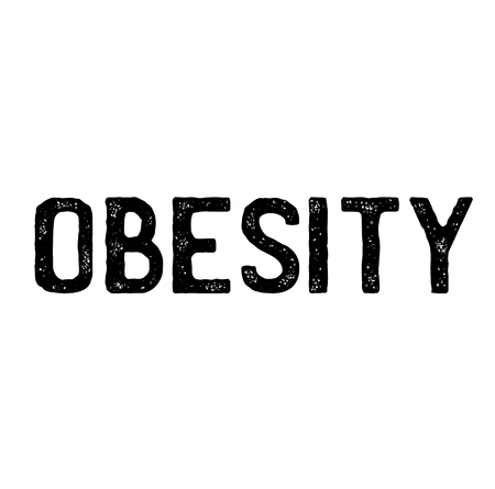 obesity stamp on white background . Sign, label sticker