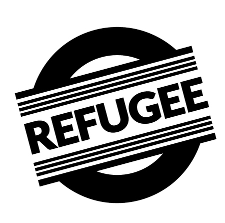 refugee stamp on white background . Sign, label sticker