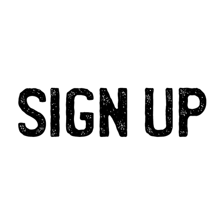 sign up stamp on white background . Sign, label, sticker